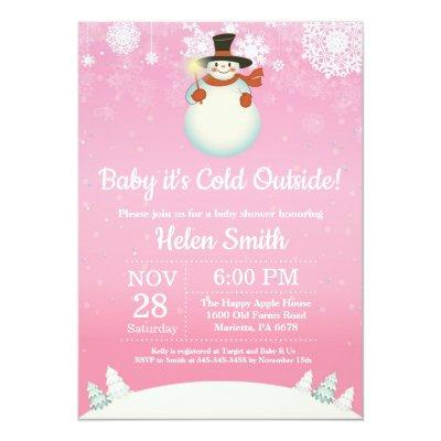 Baby Its Cold Outside Winter Snowman Shower Invitation