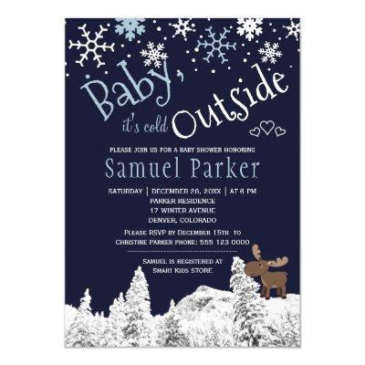 Baby its cold outside wonderland winter boy shower Invitations