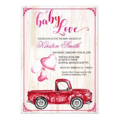 Baby Love Heart Balloons Baby Shower Invitation