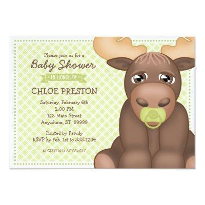 Baby Moose Invitations - Green & Brown