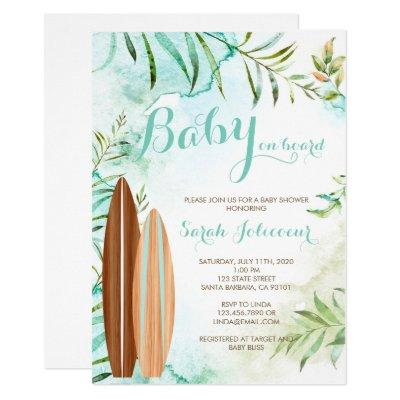 Baby on Board Surf Baby Shower Invitation