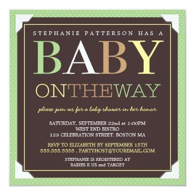 Baby On the Way Modern Green & Brown Invitations
