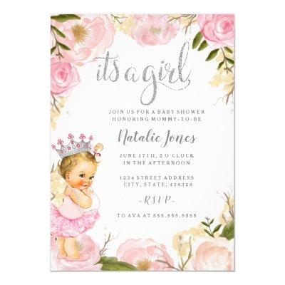 Baby Princess It's a Girl Pink Rose Baby Shower Invitation