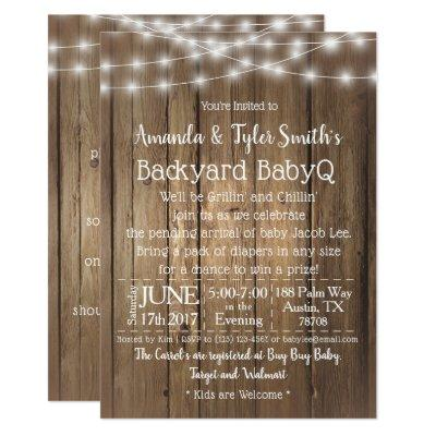 Baby-Q BBQ Wood Rustic Gender Neutral Baby Shower Invitations