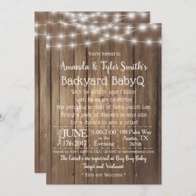 Baby-Q BBQ Wood Rustic Gender Neutral Baby Shower Invitation