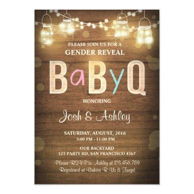 Baby Q gender reveal BBQ Baby Shower Rustic Wood Invitations