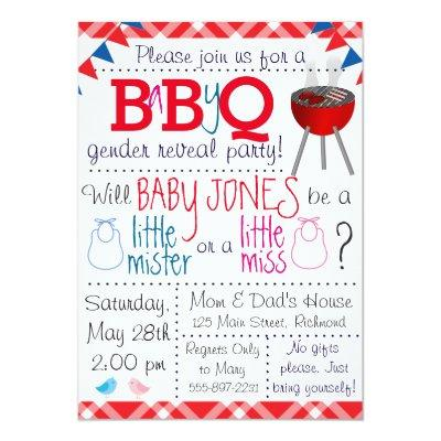 Baby-Q Gender Reveal Party Invitations