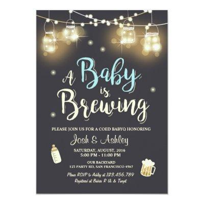 Baby Q Invitations Coed BBQ Baby brewing Boy blue