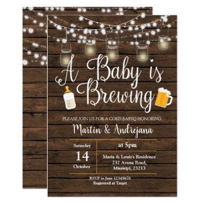 Baby Q invitation Coed BBQ Baby brewing invite