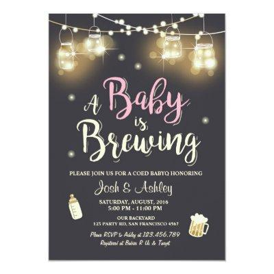 Baby Q Invitations Coed BBQ Baby brewing Pink Girl