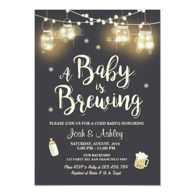 Baby Q invitation Coed BBQ Baby brewing shower