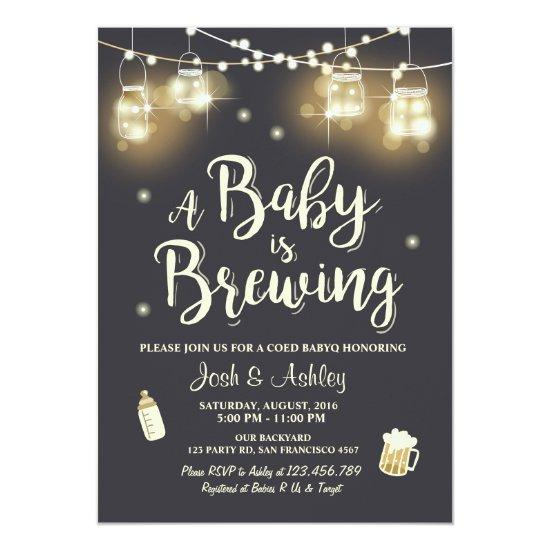 Baby Q Invitations Coed BBQ Baby brewing shower