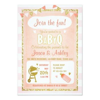 Baby Q Invitations Coed BBQ Baby Shower Invite Pink