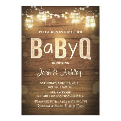 Baby Q Invitations Coed BBQ Rustic Wood