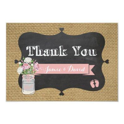 BaBy-Q Shower Burlap Mason Jar Thank You Invitations