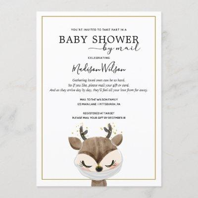 Baby Reindeer with Mask Baby Shower by Mail Invitation