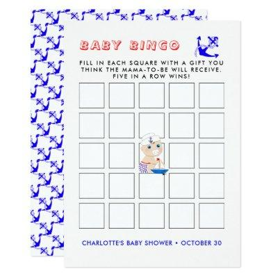 Baby Sailor Nautical Baby Shower Bingo Game Cards