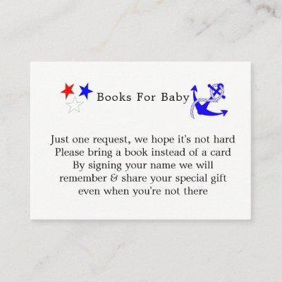 Baby Sailor Nautical Baby Shower Books For Baby Enclosure Card