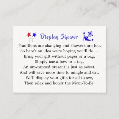 Baby Sailor Nautical Baby Shower Display Shower Enclosure Card