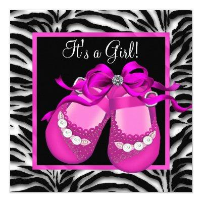 Baby Shoes Hot Pink Zebra Baby Girl Shower Invitations