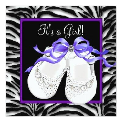 Baby Shoes Purple Zebra Baby Girl Shower Invitations