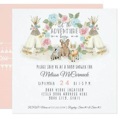Baby Shower Adventure Begin Teepee Bear Deer Blush Invitation