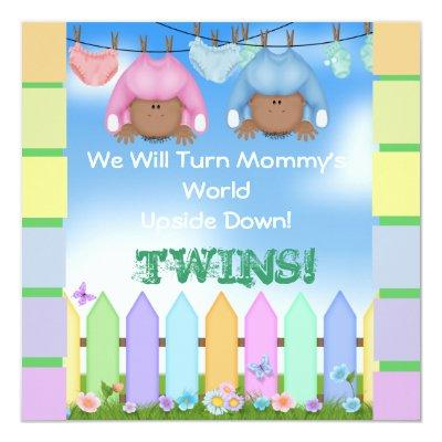 BABY SHOWER AFRICAN AMERICAN TWIN BOY & GIRL Invitations