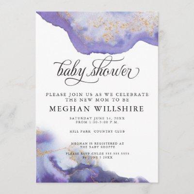 Baby Shower Amethyst Watercolor Geode Invitation