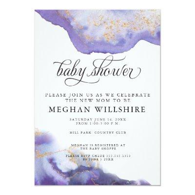 Baby Shower Amethyst Watercolor Geode Invitations