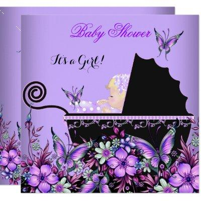Baby Shower Baby Blonde Girl Purple Butterfly Invitation