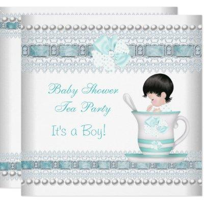 Baby Shower Baby Blue Teacup Tea Party Invitation