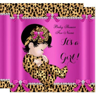 Baby Shower Baby Cute Girl Leopard Hot Pink Gold B Invitation