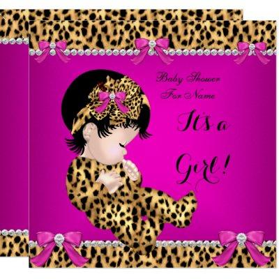 Baby Shower Baby Cute Girl Leopard Hot Pink Gold E Invitation