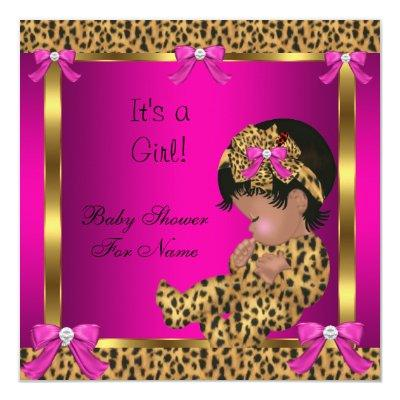 Baby Shower Baby Cute Girl Leopard Pink Gold 2 Invitations
