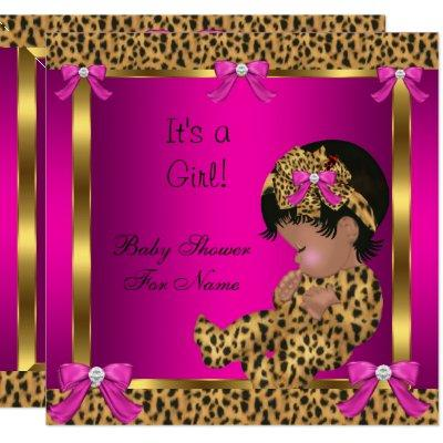 Baby Shower Baby Cute Girl Leopard Pink Gold 2 Invitation