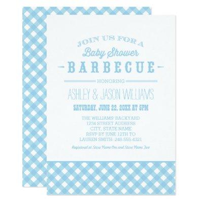 baby shower bbq invitations blue gingham