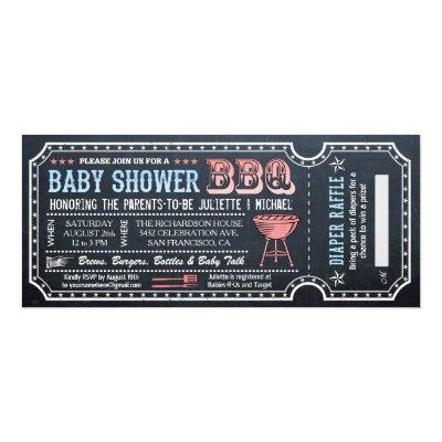 Baby Shower BBQ Ticket Invitations w Diaper Raffle