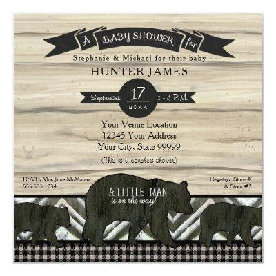 Baby Shower Bear Woodland Forest Lumberjack Plaid Invitations