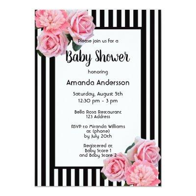 Baby Shower black white stripes pink flowers Invitation
