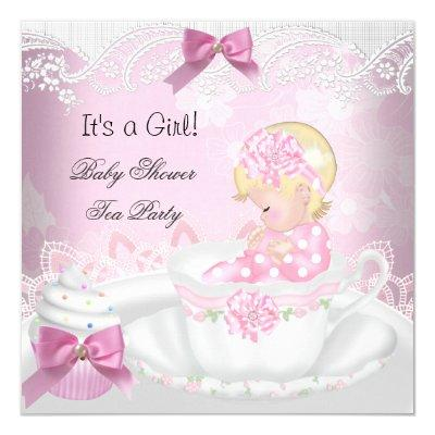 Baby Shower Blonde Girl Pink Baby Teacup Cupcake Invitations