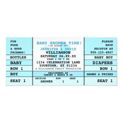 Baby Shower Blue Concert Ticket Invitations