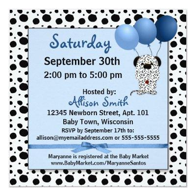 Baby Shower | Blue Dalmatian Puppy Invitations