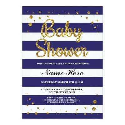 Baby Shower Blue Navy Stripe Gold Glitter Invite