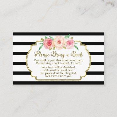 Baby Shower Book Request Invitations Pink Floral Black