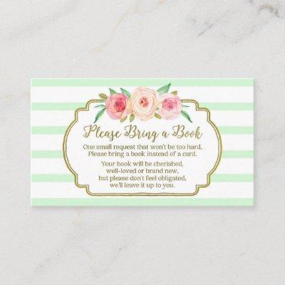 Baby Shower Book Request Invitations Pink Floral Mint