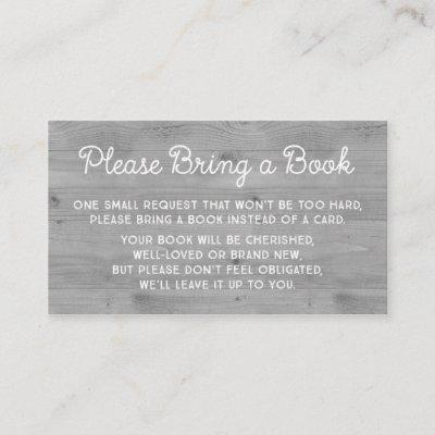 Baby Shower Book Request Card Rustic Grey Wood