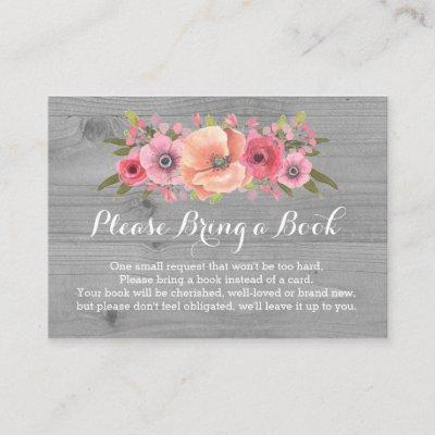 Baby Shower Book Request Invitations Rustic Wood Floral