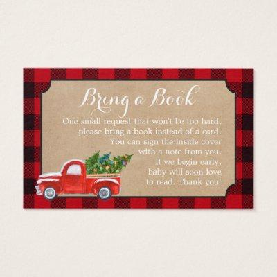 Baby Shower Book Request Christmas Truck Red Plaid