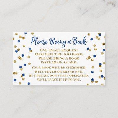 Baby Shower Book Request Navy Blue Gold Confetti Enclosure Card