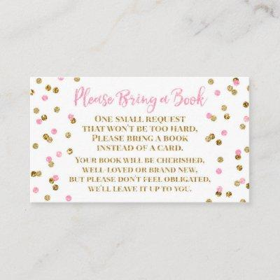 Baby Shower Book Request Pink Gold Confetti Enclosure Card